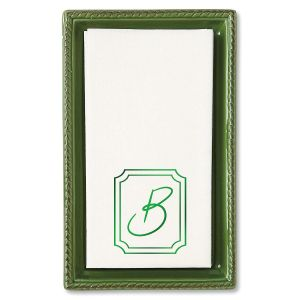 Green/White Ceramic Guest Towel Caddy