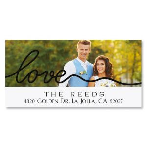 Love Deluxe Personalized Photo Address Label Black