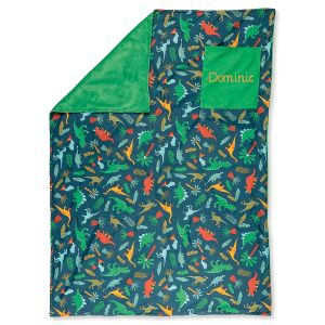 Personalized All-Over Green Dino Print Blanket by Stephen Joseph®