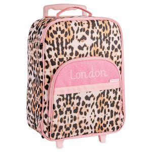 Personalized Pink Leopard Rolling Luggage