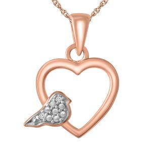 "Diamond Accent Heart/Dove Pendant with 18"" Chain"