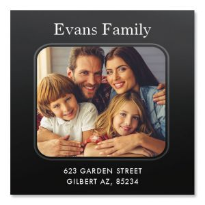 Modern Large Square Personalized Photo Address Label