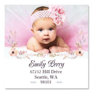 Personalized Floral Large Square Photo Address Label