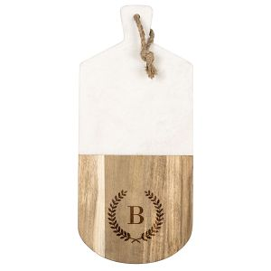 Personalized Acacia and Marble Serving Board