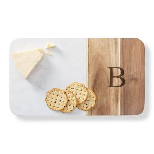 Personalized Marble & Acacia Cheese Board