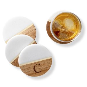 Personalized Marble & Acacia Coasters
