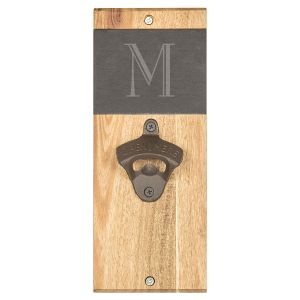 Acacia Slate Wall Mount Bottle Opener Name
