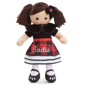 Personalized Hispanic Rag Doll in Plaid Dress