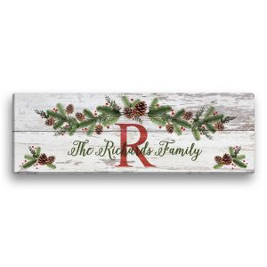 Personalized Christmas Pine Canvas