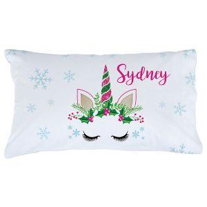Personalized Christmas Unicorn Pillowcase
