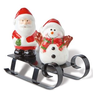 Sledding Santa and Snowman Salt and Pepper Set
