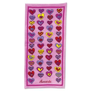 Crazy Hearts Personalized Towel