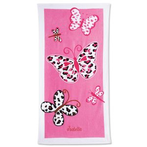 Leopard Butterflies Personalized Towel