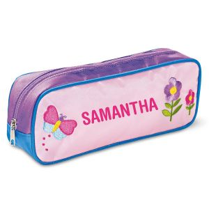 Butterfly and Flowers Embroidered Pencil Case