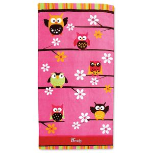 Owl Beach Personalized Towel