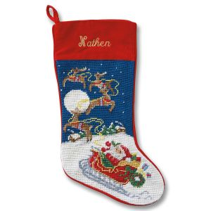 Sleigh & Reindeer Heirloom Needlepoint Personalized Christmas Stocking