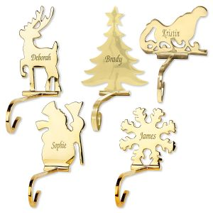 Solid Brass Personalized Christmas Stocking Holders