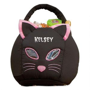 Black Cat Personalized Halloween Treat Bag