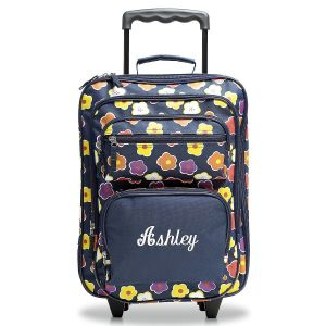 Navy Floral Rolling Luggage