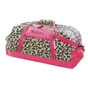 Leopard Print Personalized Spots Duffel Bag