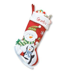 Snowman and Penguin 3D Christmas Stocking