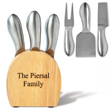 Engraved Wooden Cheese Block and Utensils