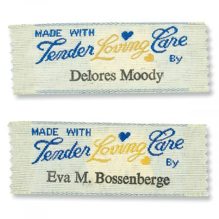 Made with tender loving care by...Sewing Labels