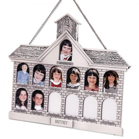 Silver Finish Personalized Schoolhouse Frame