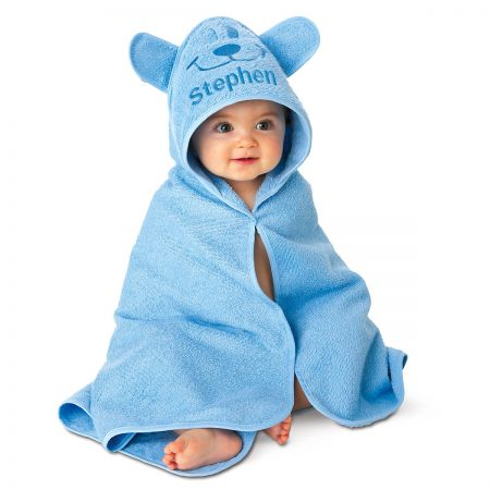 Blue Bear Hooded Animal Personalized Towel