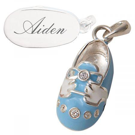 Sterling Silver Blue Sneaker Charm