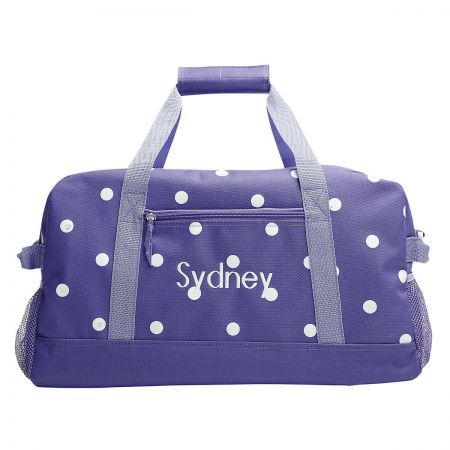 Purple with White Dots Duffel Bag