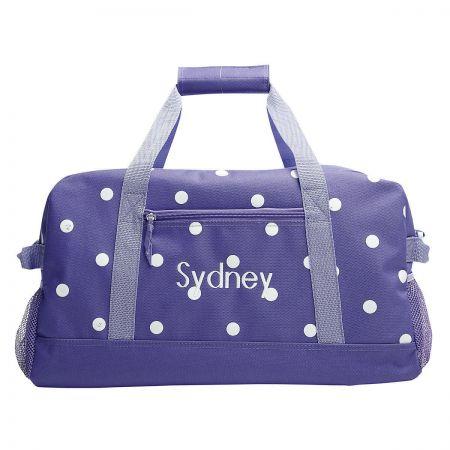 Purple Polka-Dot Duffel Bag  ddecbc56d89f6