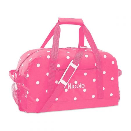 Pink with White Dots Duffel Bags