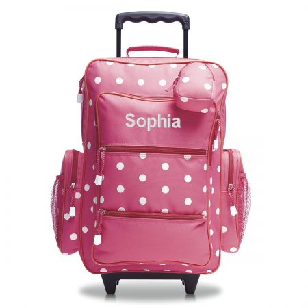 Pink with White Dots Personalized Rolling Luggage
