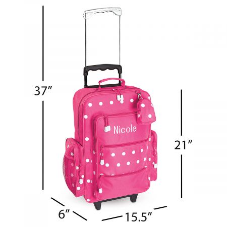 "Pink with White Dots 21"" Rolling Luggage"