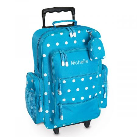 "Turquoise Polka-Dot 21"" Rolling Luggage"