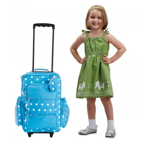 """Turquoise Polka-Dot 21"""" Personalized Rolling Luggage"""