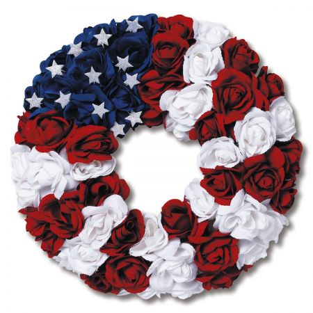 Red, White and Blue Rosebud Wreath