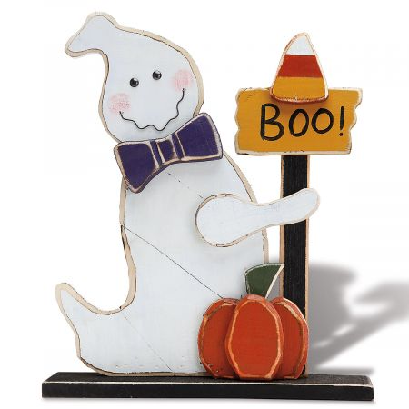 Wooden Boo Candy Corn Ghost