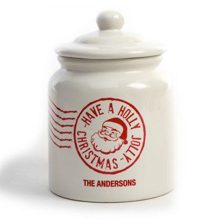 Santa Stamp Cookie Jar by Designer Maureen Anders