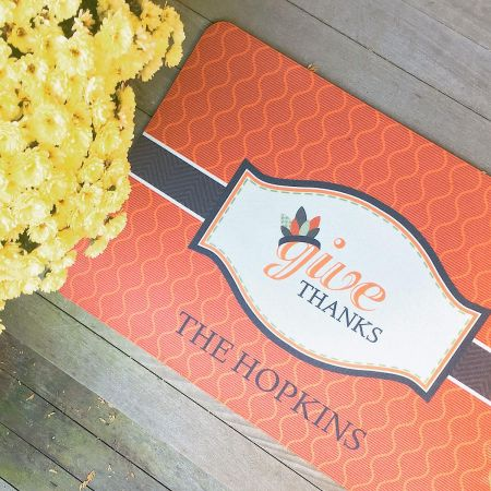 Give Thanks Personalized Floormat by Maureen Anders