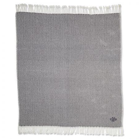 Personalized Grey Herringbone Throw