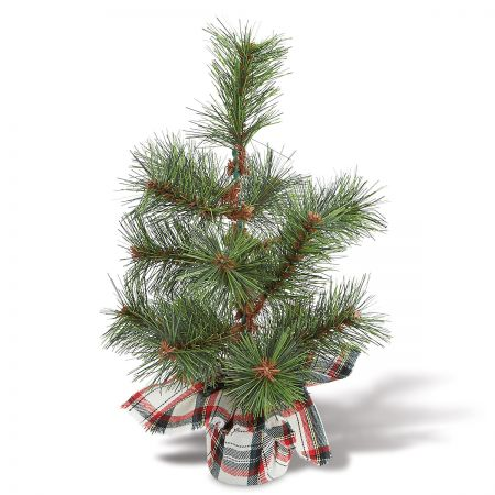 White Tartan Plaid Faux Pine Tree