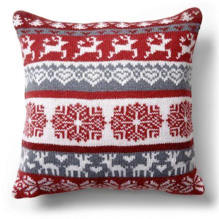 Prancing Reindeer Knit Pillow