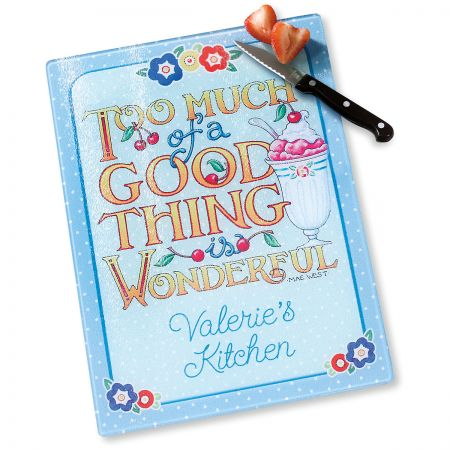 Good Thing Personalized Glass Cutting Board by Mary Engelbreit®