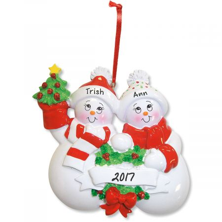 Glittered Snowman Personalized Christmas Ornament
