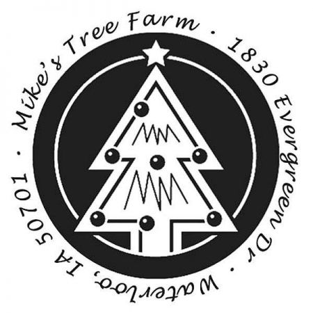 Tree Adorned Address Stamp