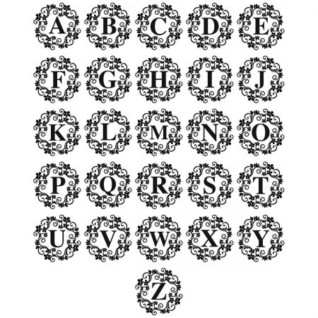 Swirl Initial Round Address Stamp