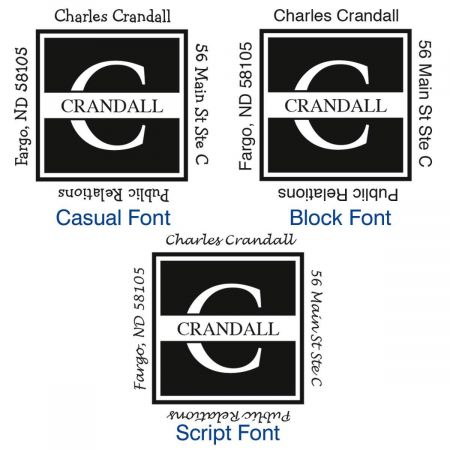 Front & Center Square Address Stamps