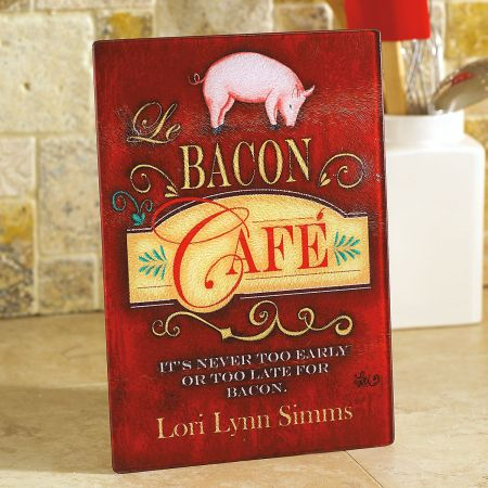 Bacon Cafe Personalized Glass Cutting Board